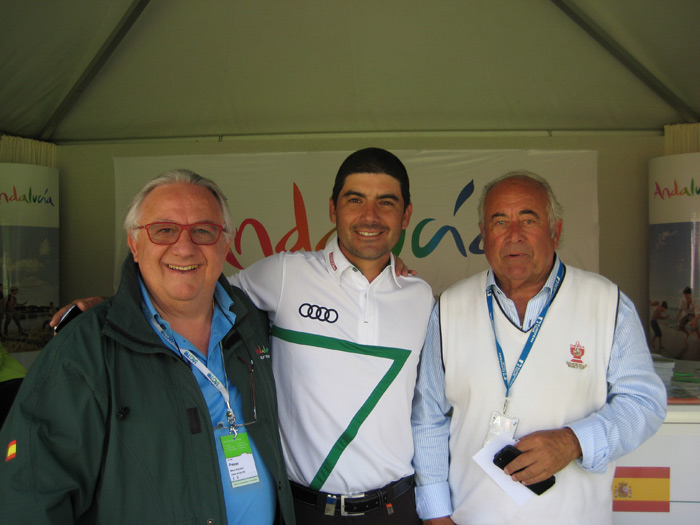 With Felipe Aguilar Tour Pro and Angel Gallardo Vice Chairmano of the PGA European Tour at Omega Masters 2014
